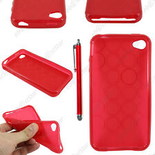 Housse Etui Coque Silicone Cercle Gel Souple Rouge Apple iPhone 4S 4 + Stylet