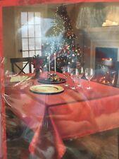 "Benson Mills CHRISTMAS Metallic Red Shimmer Fabric Tablecloth Decor 70"" Round"