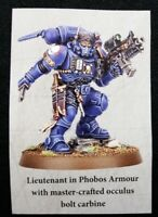 Warhammer 40K Vanguard Lieutenant Phobos Armor Primaris Shadowspear Marines
