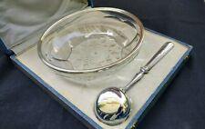Compotier /coupe en Cristal taillé cerclage argent massif avec cuillère Art déco
