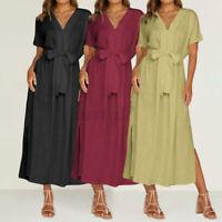Size Women Summer V-neck Cotton Dresses Ladies Loose Beach Holiday Maxi Dress UK