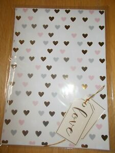 """CREAM & PASTEL HEART DESIGN GIFT WRAP AND """"LOVE"""" TAG SET - 2 SHEETS & 2 TAGS"""