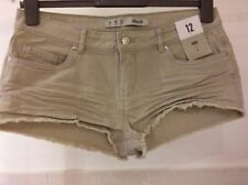 Primark Patternless Cotton Mid Rise Shorts for Women