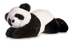 "Aurora Xie-Xie Plush Panda Bear JUMBO Flopsie 26"" Lying Down Black White Toy"