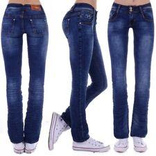 Damen Jeans Hose Hüftjeans Bootcut Gerader Schnitt Straight Leg Low Waist D74