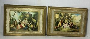 Set of 2 Vintage Florentine Toleware Wood Gold Wall Plaques Made in Italy