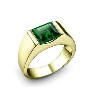 NEW Men's Solitaire Ring with Green Emerald Gemstone 18K Gold Plated Pinky Band
