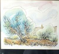 PAYSAGE Lithographie Original AQURELLÉ Signée Encadré au format 42x36cm 70th