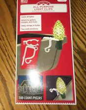 Holiday Time 100-pack Christmas Light Clips Gutter Hooks Holder Universal New