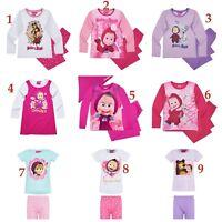 Girls Children Masha And The Bear Long Short Nightie Pyjamas pjs Set Age 3-9 yrs