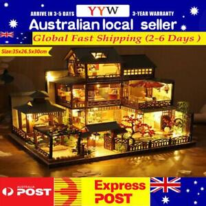 Japanese LED Villa Dollhouse DIY Doll House Miniature Furniture Kit Gift AUS