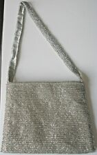 Adini Beautiful Beaded Evening Bag with Magnetic Closure in Silver*Wedding Party