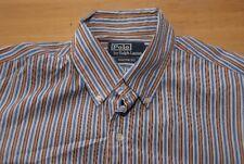 Q68 Ralph Lauren Hemd Custom Fit - Größe M - gestreift blau weiß orange - Herren