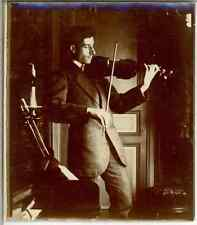 Violoniste  Vintage citrate print.  Tirage citrate  9,5x10,5  Circa 1900
