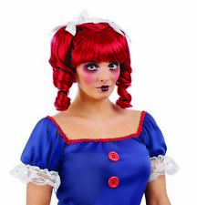 Womens Red Horror Doll  Pigtail Wig For Adult  Halloween Fancy Dress