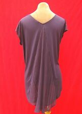 Purple Chiffon pleated fan tail dip hem soft stretch sleeveless long top T shirt
