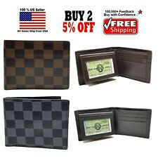 FRANCE DESIGNER GREY / BROWN CHECKERS STYLE BIFOLD BI-FOLD WALLET