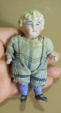 """Little 3 3/4"""" All Bisque Boy Doll, Blue Molded Nubby Socks"""