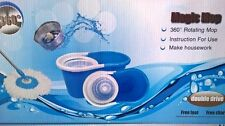 Magic Mop 360° Spinning Stainless Steel Spin Bucket 2 Microfibre Mop Heads- Blue