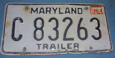 Vintage Metal Trailer License Tag Plate  MARYLAND from 1985