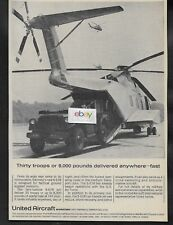 SIKORSKY S-61R HELICOPTER UNITED AIRCRAFT 30 TROOPS OR 8,000 POUNDS 1964 USAF AD