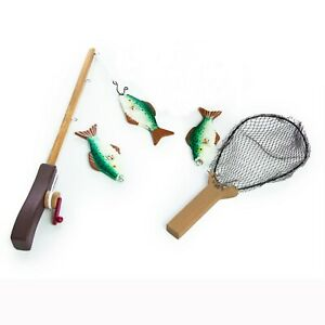 """Fishing Adventure Set (Fishing Pole, Net, and 3 Fish) for 18"""" Girl or Boy"""