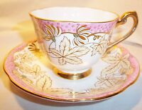 ROYAL STANDARD BONE CHINA CUP AND SAUCER ENGLAND PINK WITH LEAVES GOLD TRIM