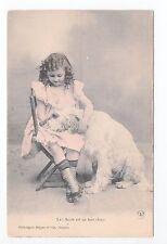 Animal CHIEN Chiens DOG dogs 33 carte fantaisie chien blanc fillette robe rose