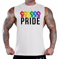 Men's Rainbow Pride Fists Workout T-Shirt Tank Top LGBT Gay Gym Fitness Tee B784