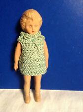 Vintage 1940's Cellulid Plastic Girl In Mint Color Knit Dress Doll