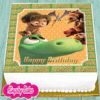 PRECUT EDIBLE ICING 7.5 INCH GOOD DINOSAUR HAPPY BIRTHDAY CAKE TOPPER NS1751