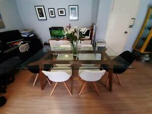 Dare Gallery Malmo 180cm Oak/Glass Top Dining Table -Like New P/U Only