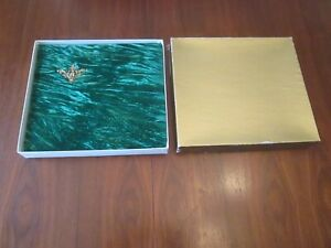 Vintage PHOTO-CURIO Green Velvet Photo Album Golden Hinge Binding 12.5X11.5 NOS