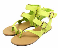 Nadya-08 Buckles Zipper Flats Gladiator Sandals Party Women's Shoes Lime 6