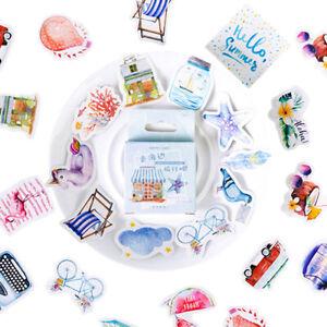 Set of 46 Summer Seaside Beach Holiday Mini Box Journalling Scrapbook Stickers