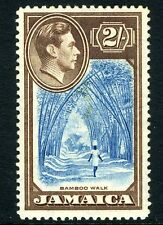 JAMAICA-1938  2/- Blue & Chocolate Sg 131 LIGHTLY MOUNTED MINT V13467