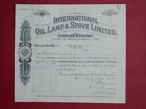 share certificate 1931 International Oil Lamp & Stove Ltd #920