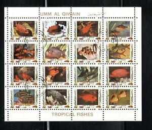 """1973 Umm Al Qi Tropical Fish Miniature sheet of 16 stamps, cto  3/4""""x4"""""""