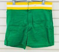 Vtg Mens L Coach's Athletic Shorts Green Polyester New Era Knitting Mills USA