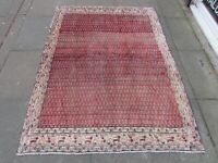 Vintage Hand Made Traditional Rug Oriental Wool Red Blue Large Rug 182x136cm