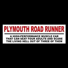 """Funny """"PLYMOUTH ROAD RUNNER"""" decal STICKER muscle car 1969 1970 1971 1972 1973"""