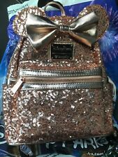 Disney Loungefly Rose Gold Backpack NEW Minnie Mouse Rose Gold Ears Bag