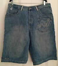 Authentic RocaWear light denim jean shorts rare vintage 38 Jay Z Kanye Dame ROC