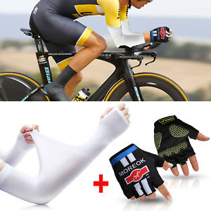 Cooling UV Arm Sleeves Sun Protective Cover Golf Bike Driving Basketball+ Gloves