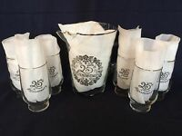 Vintage West Virginia Glass 25th Anniversary Silver Pitcher / 6 Tumblers Drink
