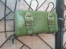 COACH ZOE GREEN LEATHER ZIP AROUND LARGE WALLET FOR COACH BAG BRASS HARDWARE