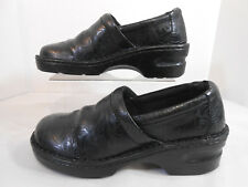 boc Born Concept Womens Shoes Size 7 M Slip On Wedge Clogs Embossed Black