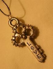 Handsome Sculpted Metal Beaded Key to My Heart Love Silvertone Pendant Necklace