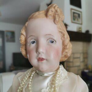 Très belle poupee ancienne tête caractérisée en porcelaine de 48cm