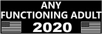 ANTI TRUMP BUMPER STICKER: ANY FUNCTIONING ADULT FOR PRESIDENT 2020 BERNIE